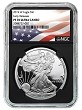 2019 W 1oz Silver Eagle Proof NGC PF70 Ultra Cameo - Early Releases - Black Core - Flag Label