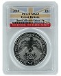 2019 Great Britain Queens Beast Falcon 2oz Silver Coin PCGS MS69 - Flag Label