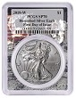 2019 W Burnished Silver Eagle PCGS SP70 - First Day Issue Label - Space Frame