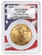 2019 $50 Gold Eagle PCGS MS70 - First Day Issue - Flag Frame