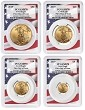 2019 Gold Eagle 4 Coin Set PCGS MS70 - First Day Issue - Flag Frame