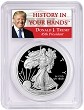 2019 W 1oz Silver Eagle Proof PCGS PR70 DCAM - Donald Trump Label