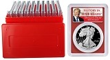 2019 S 1oz Silver Eagle Proof PCGS PR69 DCAM - Red Frame - First Day Issue - Donald Trump Label - 10 Pack w/Case