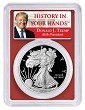 2019 S 1oz Silver Eagle Proof PCGS PR69 DCAM - Red Frame - First Day Issue - Donald Trump Label