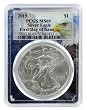 2019 1oz Silver Eagle PCGS MS69 - First Day Issue - Eagle Frame