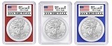 2019 1oz Silver Eagle PCGS MS70 - Red White and Blue Frame - Made In USA Label