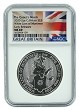 2020 Great Britain 2oz Silver Queens Beast White Lion NGC MS69 Early Releases - Flag Label