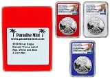 2020 W Congratulations Set Silver Eagle Proof NGC PF69 Ultra Cameo - First Day Of Issue - Red White and Blue 3 Coin Set - Donald Trump Label w/Case - PRESALE