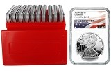 2020 W 1oz Silver Eagle Proof NGC PF69 Ultra Cameo - Early Releases - Flag Label - 10 Pack w/Case - PRESALE