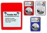 2020 W 1oz Silver Eagle Proof NGC PF69 Ultra Cameo - First Day Of Issue - Red White and Blue 3 Coin Set - Donald Trump Label w/Case - PRESALE