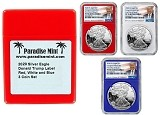 2020 W Congratulations Set Silver Eagle Proof NGC PF70 Ultra Cameo - First Day Of Issue - Red White and Blue 3 Coin Set - Donald Trump Label w/Case