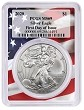 2020 1oz Silver Eagle PCGS MS69 - First Day Issue - Flag Frame