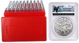 2020 1oz Silver Eagle PCGS MS70 - Eagle Label - 10 Pack w/Case - PRESALE