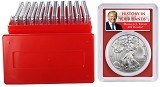 2020 1oz Silver Eagle PCGS MS69 - Red Frame - First Day Issue - Donald Trump Label - 10 Pack w/Case