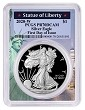 2020 W 1oz Silver Eagle Proof PCGS PR70 DCAM - First Day Issue - Statue Of Liberty Frame