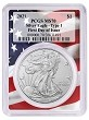 2021 1oz Silver Eagle PCGS MS70 - First Day Issue - Flag Frame - PRESALE