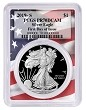 2019 S 1oz Silver Eagle Proof PCGS PR70 DCAM - First Day Issue - Flag Frame