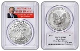 2017 1oz Silver Eagle PCGS MS69 - First Day Issue - Donald Trump Label - 1 of 2000 - Presale