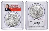 2017 1oz Silver Eagle PCGS MS70 - First Day Issue - Donald Trump Label - 1 of 2000 - Presale