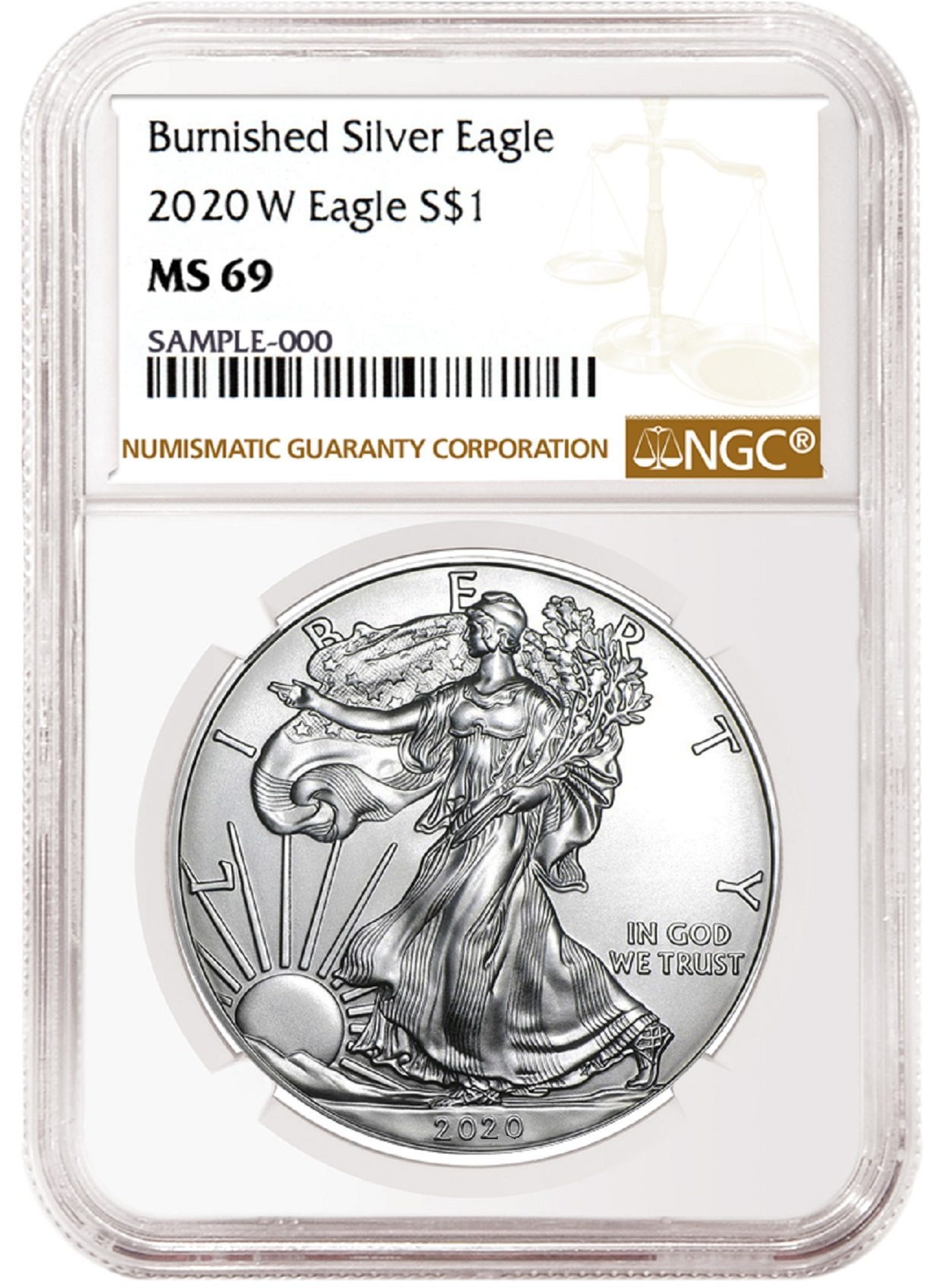 2020 W Burnished Silver Eagle NGC MS69 Brown Label