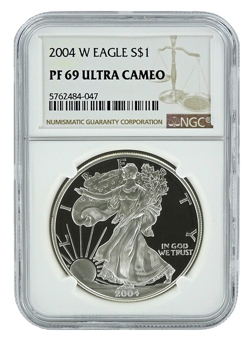 2004 W 1oz Silver Eagle Proof NGC PF69 Ultra Cameo - Brown Label