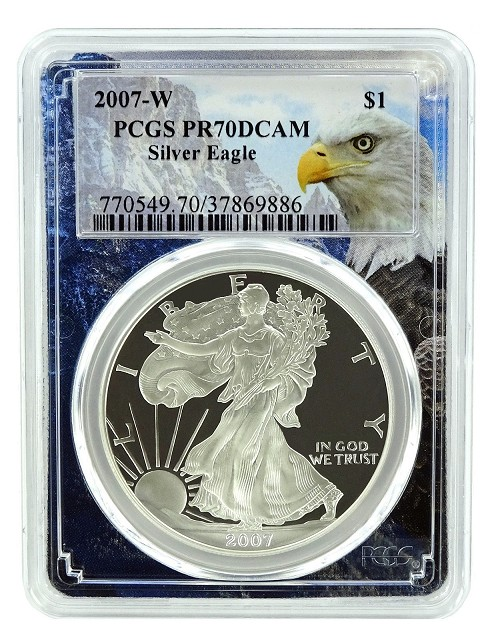 2007 W 1oz Silver Eagle Proof PCGS PR70 DCAM - Eagle Picture Frame