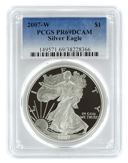 2007 W 1oz Silver Eagle Proof PCGS PR69 DCAM - Blue Label