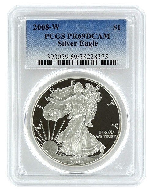 2008 W 1oz Silver Eagle Proof PCGS PR69 DCAM - Blue Label