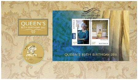 2011 85th Birthday Of Her Majesty Queen Elizabeth II Stamp And Coin Cover