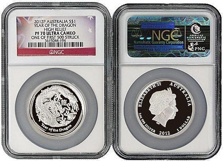 2012 P Australia Silver High Relief Dragon NGC PF70 UC One of first 500 Struck Flag Label