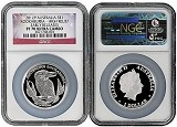 2012 Australia 1oz Silver High Relief Kookaburra NGC PF70 UC Early Releases Flag Label