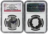 2012 P Australia Sea Life Series II 1/2oz Silver Manta Ray NGC PF70 UC Early Releases Flag Label
