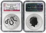 2013 Australia 1oz Silver Lunar Snake NGC MS70 One of first 1000 Struck Flag Label