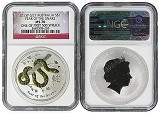 2013 P Australia Silver Gilt/Gilded Snake NGC MS70 One Of First 500 Struck Flag Label
