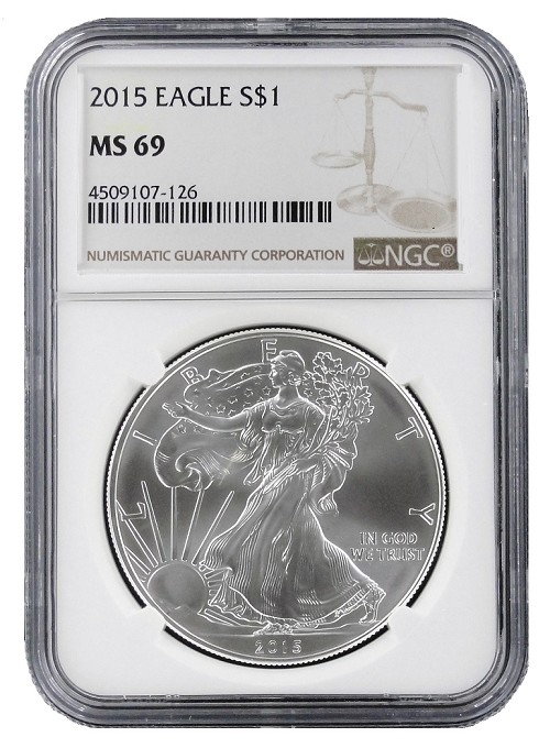 2015 1oz Silver American Eagle NGC MS69 - Brown Label