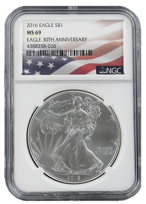 2016 1oz Silver American Eagle NGC MS69 - Flag Label