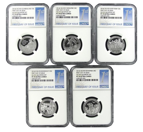 2016 S National Park Silver Quarter Set NGC PF70 Ultra Cameo - 1st Day Issue