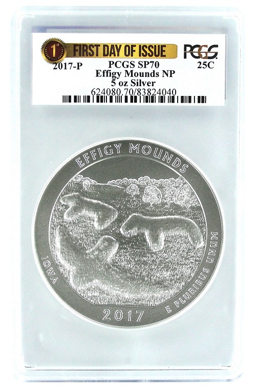 2017 P Effigy Mounds 5oz Silver Coin PCGS SP70 - First Day Issue