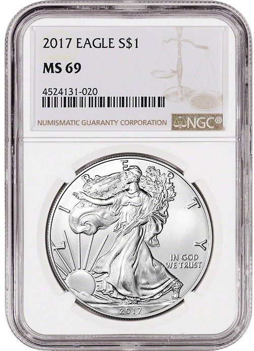 2017 1oz Silver American Eagle NGC MS69 - Brown Label