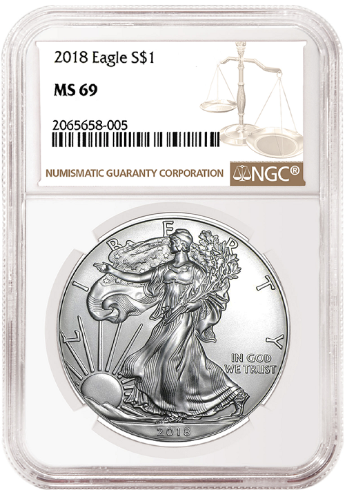 2018 1oz Silver American Eagle NGC MS69 - Brown Label