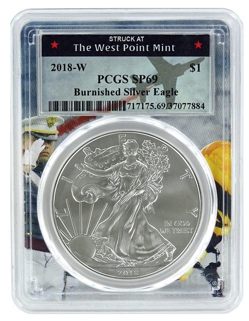 2018 W Burnished Silver Eagle PCGS SP69 - West Point Frame