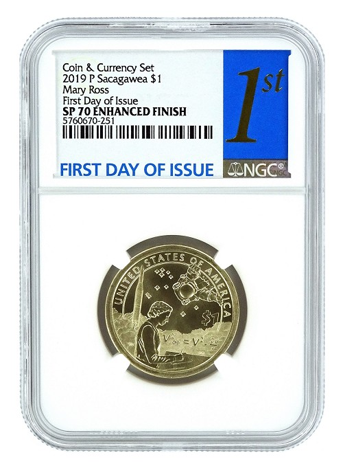2019 P Coin And Currency Set Sacagawea Dollar NGC SP70 - 1st Day Of Issue