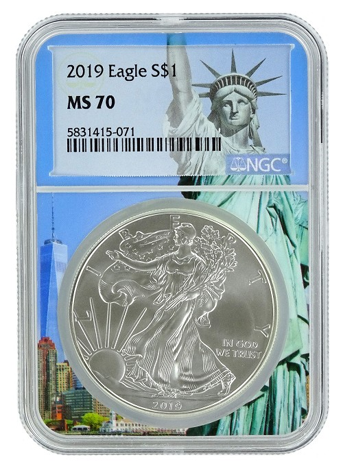 2019 1oz Silver American Eagle NGC MS70 - Statue Of Liberty Core