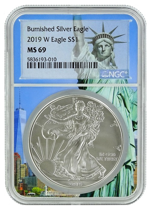 2019 W Burnished Silver Eagle NGC MS69 - Statue Of Liberty Core
