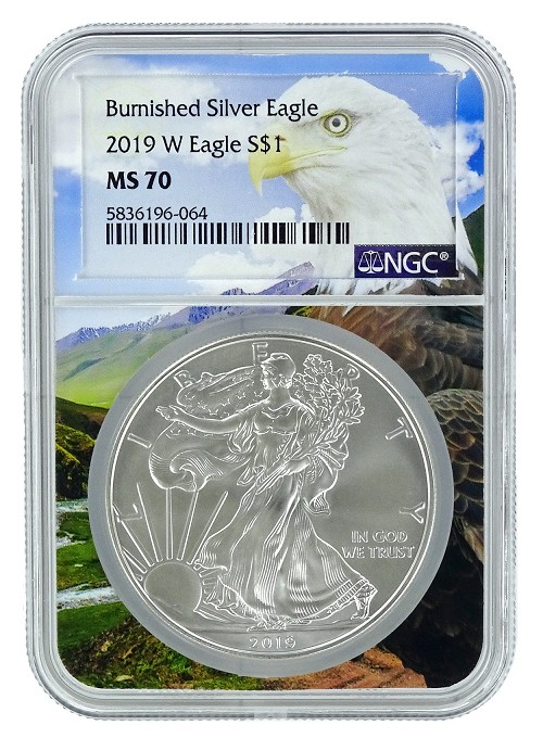 2019 W Burnished Silver Eagle NGC MS70 - Eagle Core