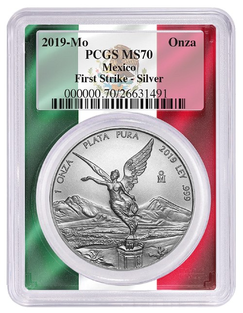 2019 Mexico 1oz Silver Onza Libertad PCGS MS70 - First Strike - Flag Frame