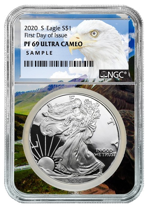 2020 S 1oz Silver Eagle Proof NGC PF69 Ultra Cameo - First Day Issue - Eagle Core