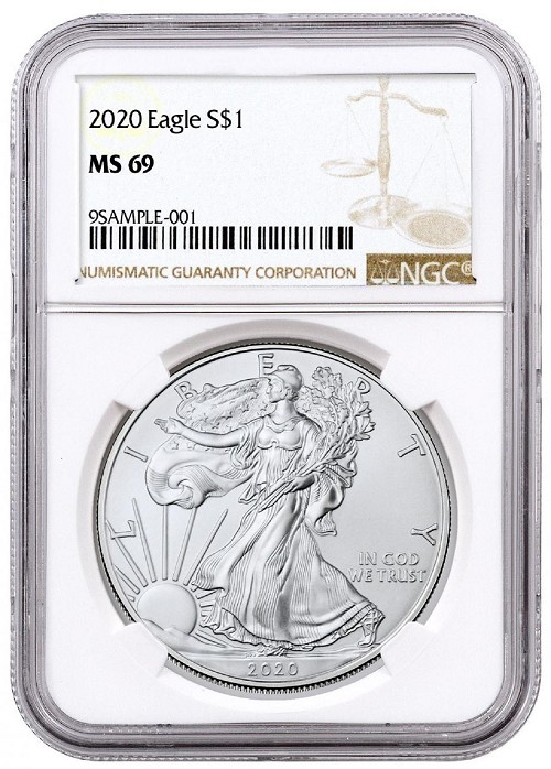 2020 1oz Silver American Eagle NGC MS69 - Brown Label