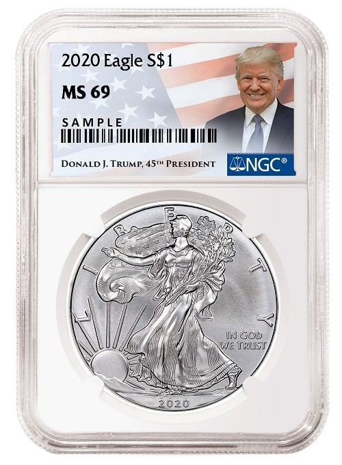 2020 1oz Silver Eagle NGC MS69 - Donald Trump Label