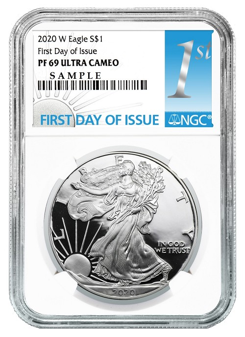 2020 W 1oz Silver Eagle Proof NGC PF69 Ultra Cameo - First Day Of Issue Label